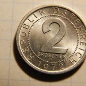 Монета. Австрия. 2 гроша 1972 года.