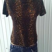 Женская футболка леопард с полупрозрачными вставками