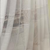 Очень красивый белый тюль с фактурой льна и стильным низом!Можно заказать пошив!