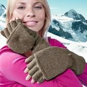 Теплые, красивые перчатки-варежки, трикотажный флис, тсм Tchibo (чибо), Германия