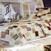 Бязевый постельный комплект Евро размеров 200*220см. 80% хлопок, 20% полиэстер. Ткань плотная.
