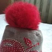 Демисезонная шапка, натуральный помпон, 48 см.