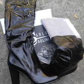 Шкіряні чоботи на цегейці! 38 р. на тонку литку