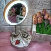 Зеркало косметическое Mirror с подстветкой, раскладное , двухстороннее с увеличением в 10 раз!!!