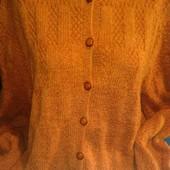 Кофта ручной вязки оранжевого меланжа на женщину 56-58(укр.)