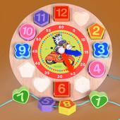 """Развивающая и обучающая универсальная игра""""Часы"""" 2 в 1 - рамка вкладыш + шнуровка!"""