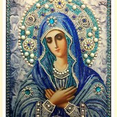 Вышивка алмазными стразами образа Умиление Божьей Матери,готовая работа