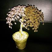 """Дерево """"инь - янь"""" из бисера, золото и серебро, сувенир, статуэтка, фигурка, декор"""