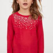 ♥-тонкий свитер H&M ,паетки+бусины,р.6-8-!♥