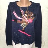 Красивый яркий мягенький свитерок с диодами р.М пог 51
