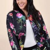 Модные вещи для пышных дам Мастерка с цветочным принтом 16 размер Англия