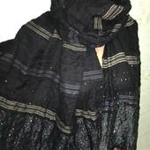 Шикарный нарядный плотненький широкий палантин с серебряным люрексом и пайетками 190/66