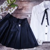 Стильная юбка из еко кожи. Чёрная 146