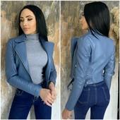 Фабричный Китай Стильная куртка косуха из качественной ЭКО кожи на подкладе