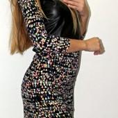 Красивое стильное платье с экокожей, р42 замеры