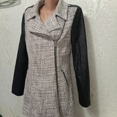 Красивое стильное пальто косуха, букле, кожзам р.12 пог 47