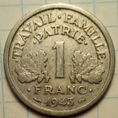 1 франк 1943 год Франция Режим Виши