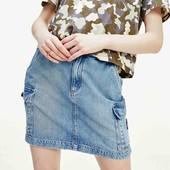 Скидка УП-10%.Летняя джинсовая юбка в стиле карго с карманами от Franco Benussi. размер 42,44