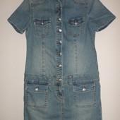 стильное стрейчевое джинсовое платье С/М,пог 45-50 см