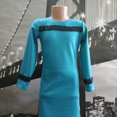 Платье бирюза для девочки на прохладные погоды! Смотрите по замерам! Размер на выбор! + Подарок!