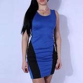 Стильне синє плаття з чорними ставками