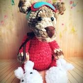 Мишка в пижамке, ручная работа. Ростик 33см