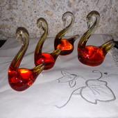 Скляні лебеді СССР.ручна робота 4шт
