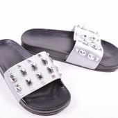 Шлёпанцы серебро 38 размер