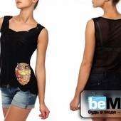 Модная женская футболка без рукавов с апликацией в виде Совы черная!