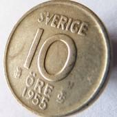 монета Швеция 10 эре, 1955, серебро!