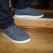 Мужские джинсовые мокасины на шнурках.кроссовки джинс.Прочные и качественные!
