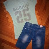Стоп❤Новый комплект джинс.шорты и футболка с камушками С-М❤