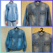 Модная тонкая джинсовая рубашка, размер М наш (46)