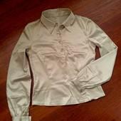 38-40р. Бежевая атластная стрейчевая блузка Vila, замеры