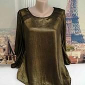 Золотистая блуза прямого кроя, Amphora, размер М