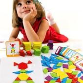Деревянная развивающая Мозайка-конструктор с геометрическими фигурами ! 60 элементов.