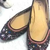Эксклюзивные!(бренд Fiore) балетки-туфельки 40-41 размер, стелька 27