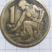 Монета Чехословакии 1 крона 1968 год!!!