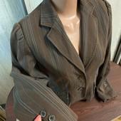 Пиджак хлопок/эластан шоколад с бирюзовой строчкой
