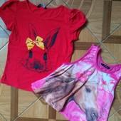 Фирменные футболка и майка для девочки 6-7 лет в отличном состоянии