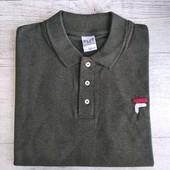 ☘ Классическая хаки футболка-поло с вышитым логотипом, размер М