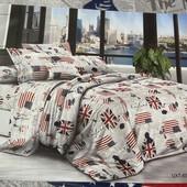 Бязевый двухспальный постельный набор. 80% х/б и 20% полиэстер. Производство Украина.