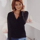 ❤️Элегантный черный пуловер с нежным жемчугом Blue Motion Германия размер на выбор
