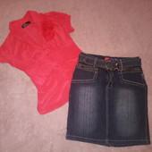 Красивая блузка с джинсовой юбкой