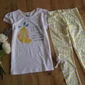 Супер стильный комплект на лето для девочки с лимончиками из хлопка футболка+лосины рост 110-116 4-