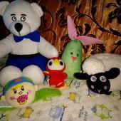 Набор 5шт. Мягкие игрушкиа мишка, овечка, зайка, птичка, погремушка на ручку