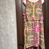 Фирменный красивый шифоновый сарафан-платье с удлиненной спинкой в отличном состоянии р.18-20