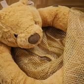 Большая подвесная корзина-сетка для игрушек с мягким мишкой
