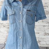 стильная джинсовая рубашка с коротким рукавом. 48 см пог