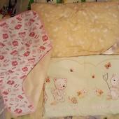 Лот детское постельное-подушки,пеленка,пододеяльник